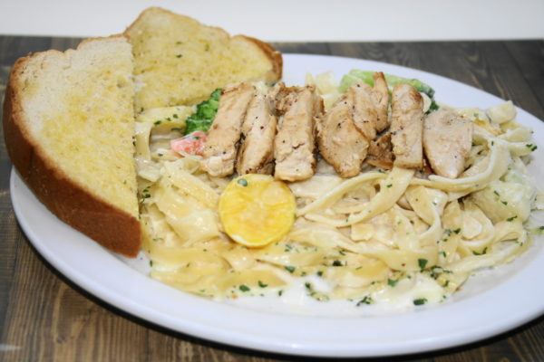 Fettuccine Vegetable Alfredo with Grilled Chicken