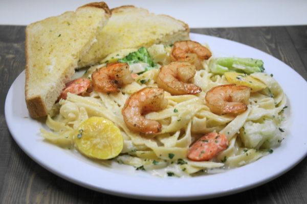 Fettuccine Vegetable Alfredo with Grilled Shrimp
